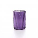 purple tealight holder ribbed